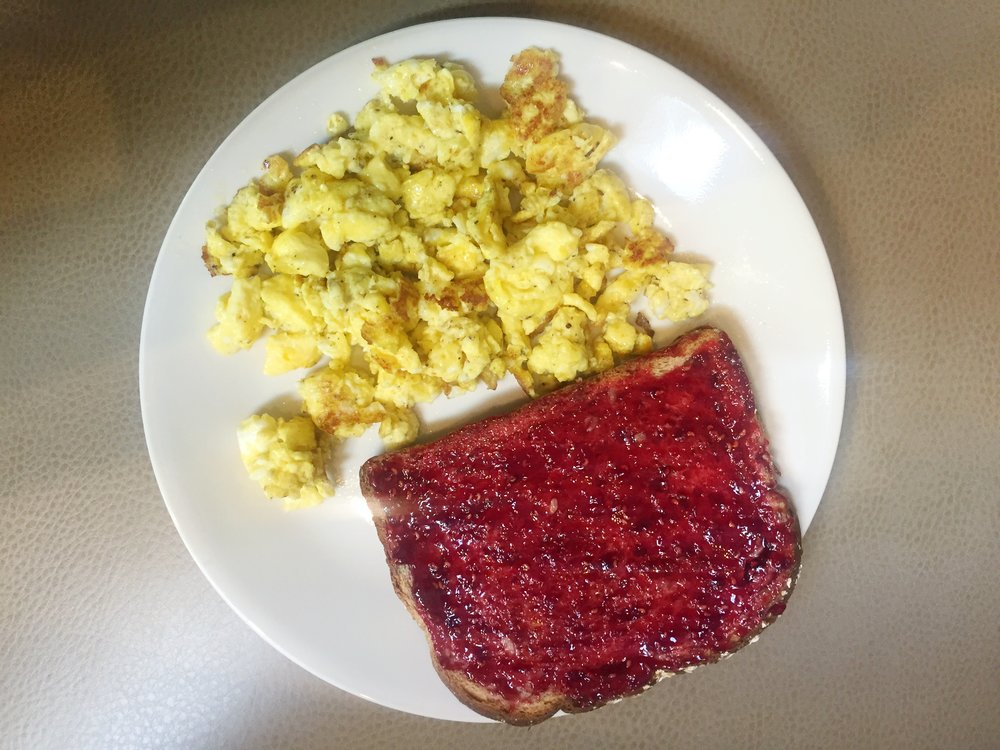Eggs and Toast with Jelly