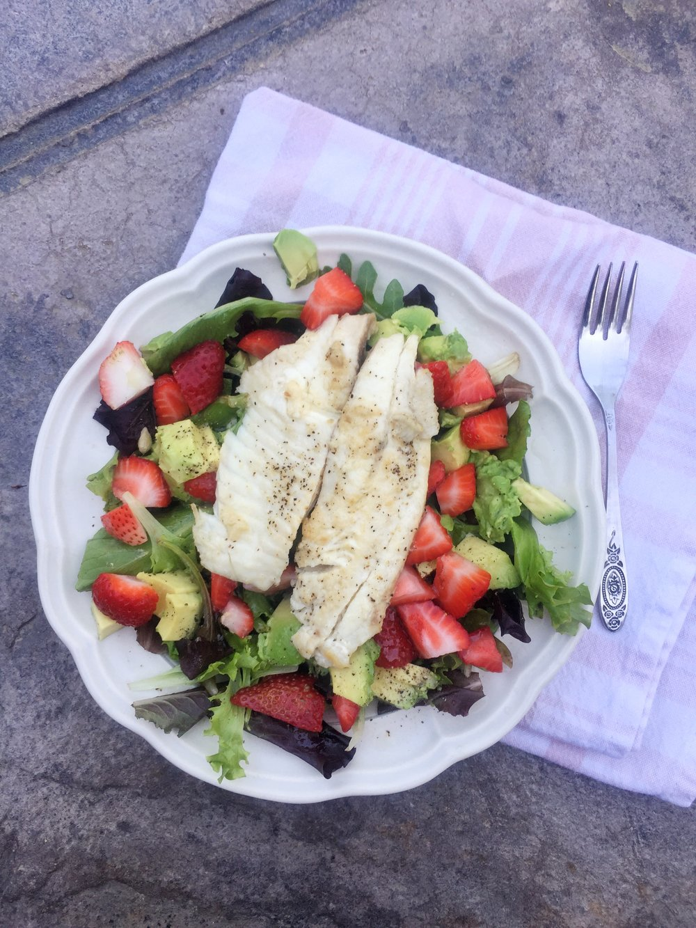 Salad with Avocado, Strawberries, and Tilapia