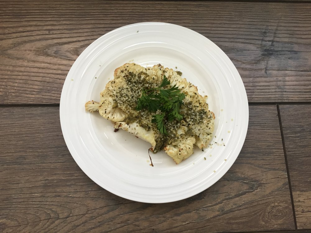 Cauliflower Steak with Pesto and Hemp Seeds