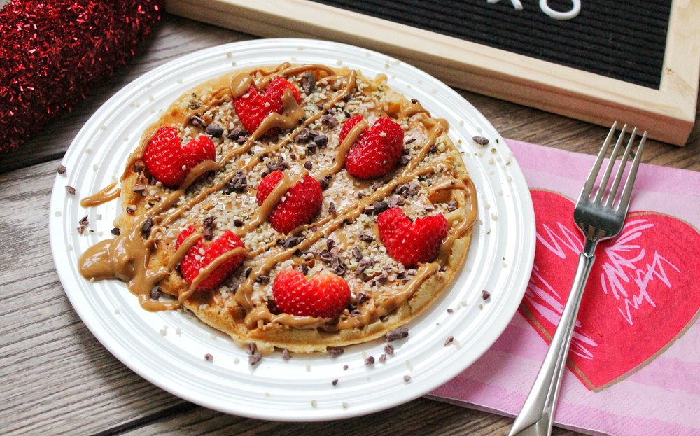 Protein Waffles with Peanut Butter Strawberries Cacao Nibs.jpg