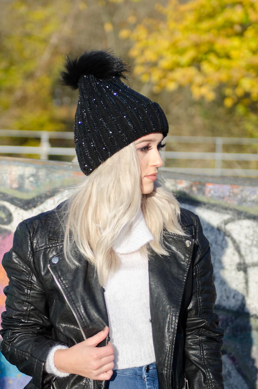 2da5f877ead Black Crystal Pom Pom Hat — La Coco Gift Boutique