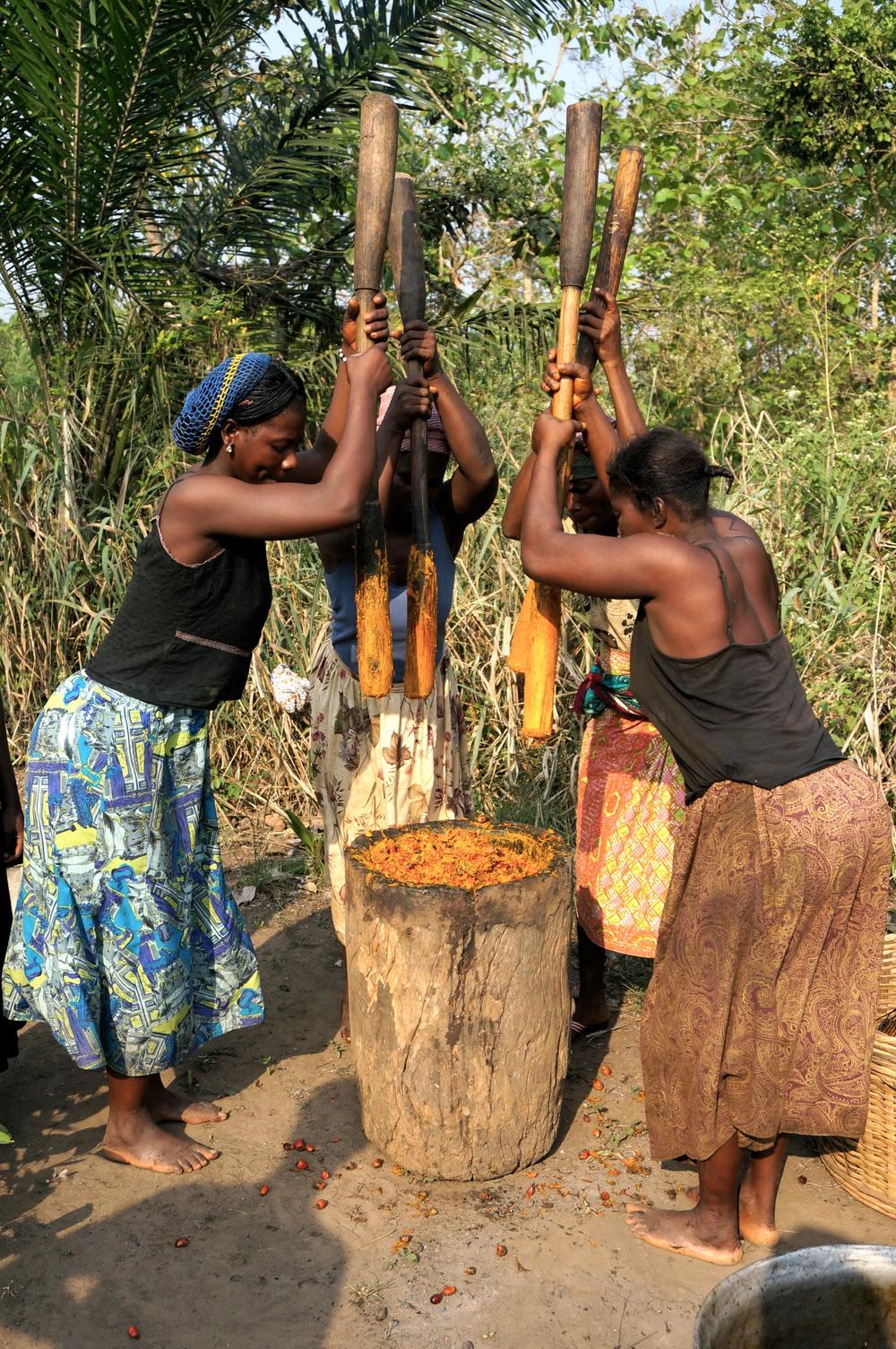 palmfrüchte stampfen im akkord