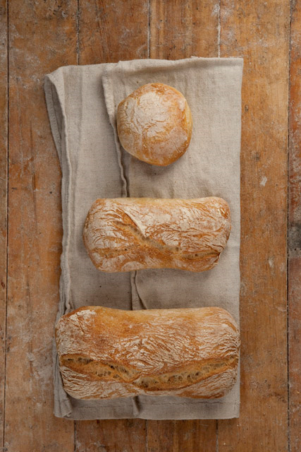 "CIABATTA ""Ciabatta"" means ""slipper"" in Italian. Oblong, slipper shape, with a thin, light, golden crust and a well-aerated, irregular crumb structure; malty, toasty, wheaten flavor. Ideal for sandwiches, and also makes an excellent table bread. Same-day shelf life."