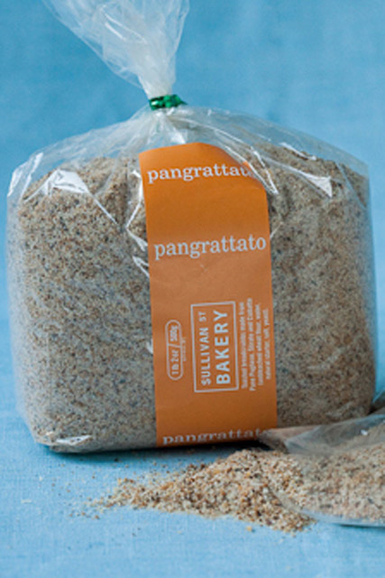 PANGRATTATO Toasted breadcrumbs made from Pane Pugliese, Stirato, and Ciabatta. Shelf life is 6 months. Only available in retail packages.