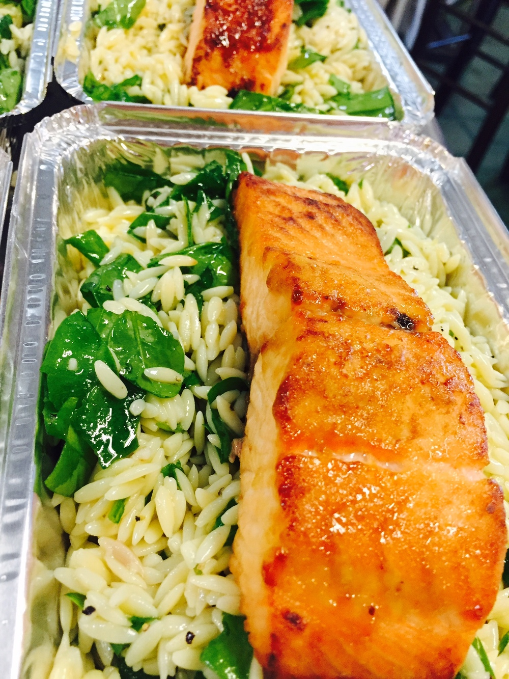 honey salmon with spinach orzo