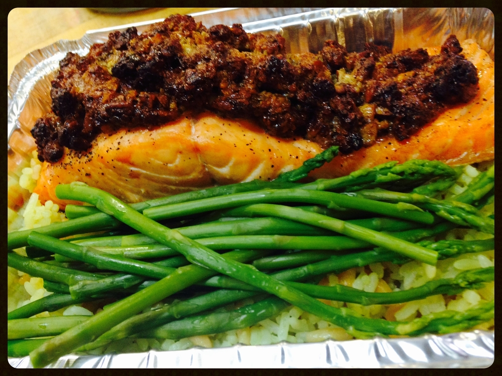 maple pecan salmon, rice pilaf & asparagus