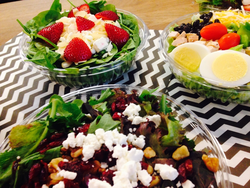 Hall's classic salad, strawberry & spinach salad, SW chopped salad