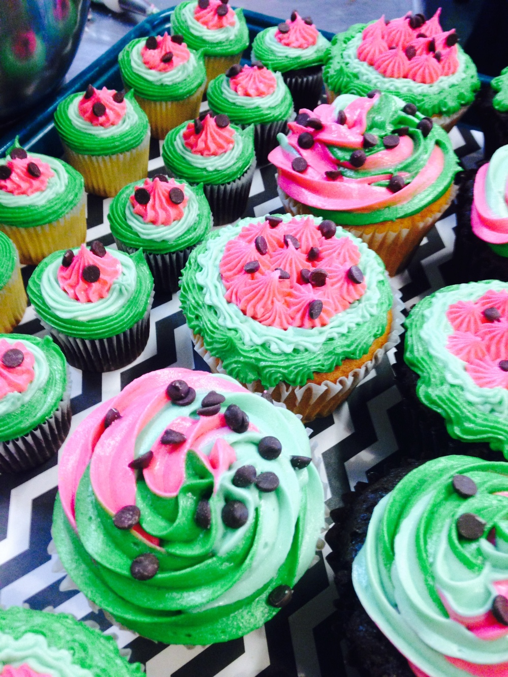 watermelon decorated cupcakes
