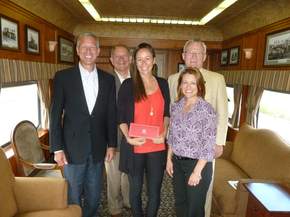 ( Left to Right) COO Lance Fritz, CEO Jack Koraleski, Shining Stars Director of Development Megan Bryant,  President of the Union Pacific Foundation Bob Turner, and Union Pacific Director of Public Affairs Sara Thompson Cassidy.