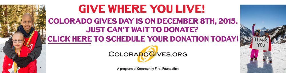 For the sixth year, Community First Foundation and FirstBank are partnering to present Colorado Gives Day on Tuesday, December 8, 2015. Colorado Gives Day is an annual statewide movement to celebrate and increase philanthropy in Colorado through online giving.