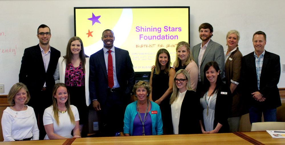 Team SSF + Shining Stars Staff and Board Members on the day of the Capstone Presentation! Thanks to our team- Reilly, Jason, Taylor, Shelby, Emily, Kwami and Jodye- for the hours of hard work they put into getting to know us and help us develop a plan for future growth.