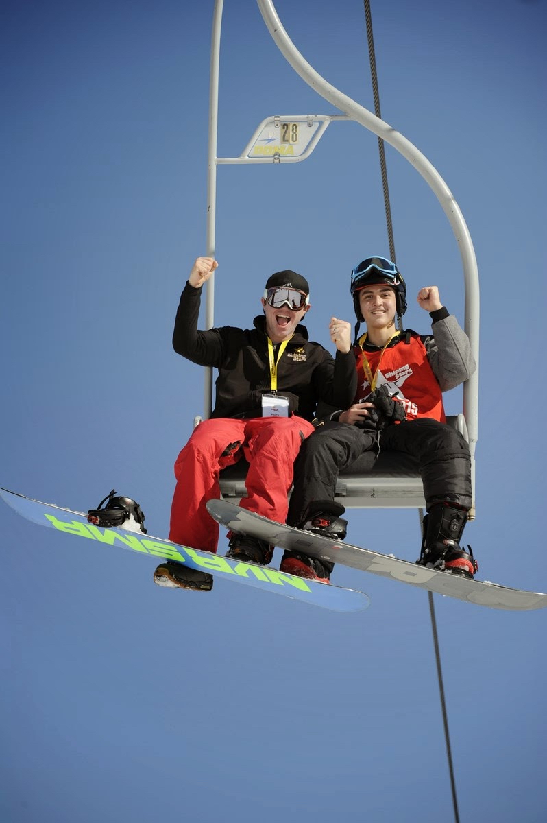 Matthew and his snowboarding instructor, Kory, at the Aspen Winter Games Program.