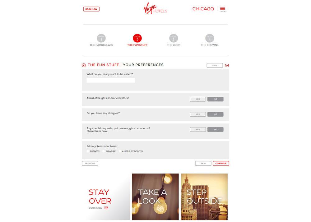 virgin hotels membership - questionnaire