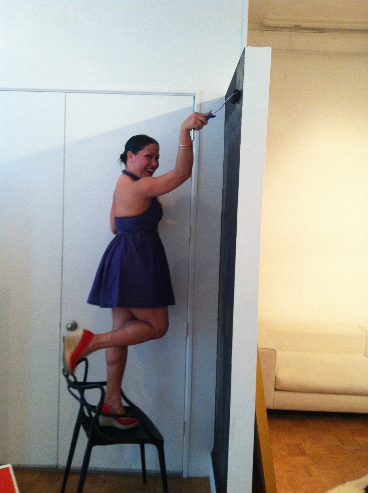 This is how we paint the office. Who needs a drop cloth?