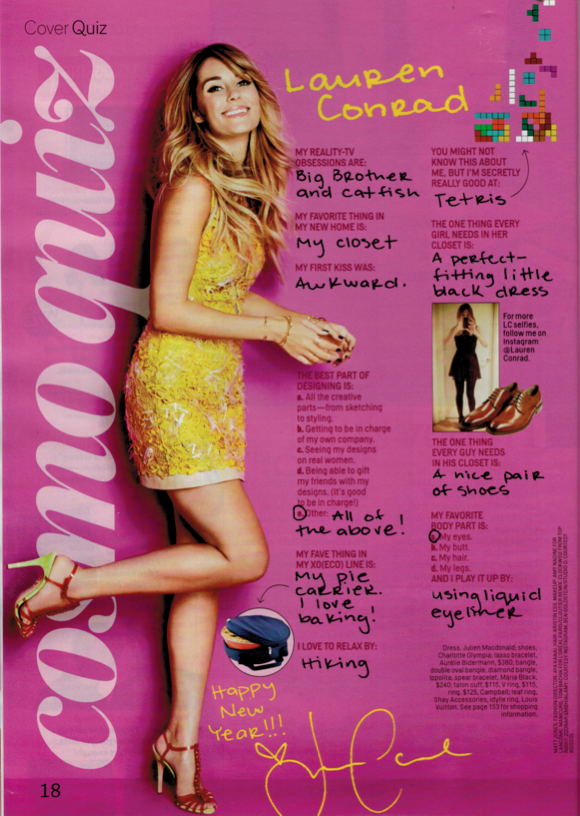 Lauren Conrad wearing the Campbell Double Talon Cuff and Tall Grass Ring in Cosmo's January 2014 issue