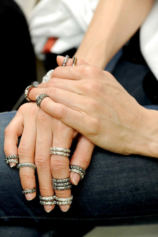 labellefabuleuse :     Backstage at Chanel Haute Couture, Fall 2013     a new level of knuckle ring