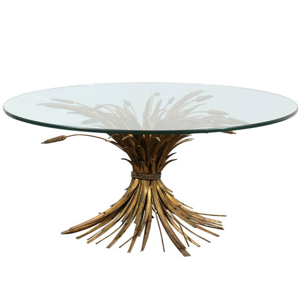 Gilded Iron and Tole Wheat Round Coffee Table