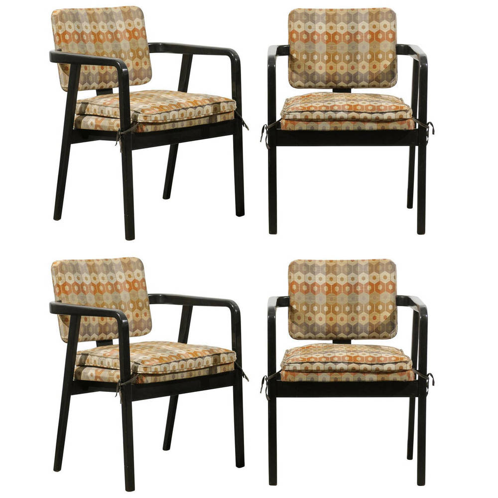 Set of Four Black Painted Chairs