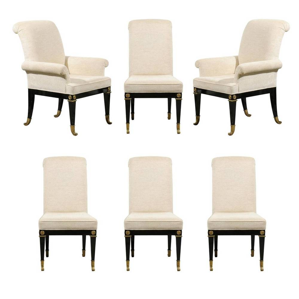 Set of Six Dining Chairs, Black Lacquer