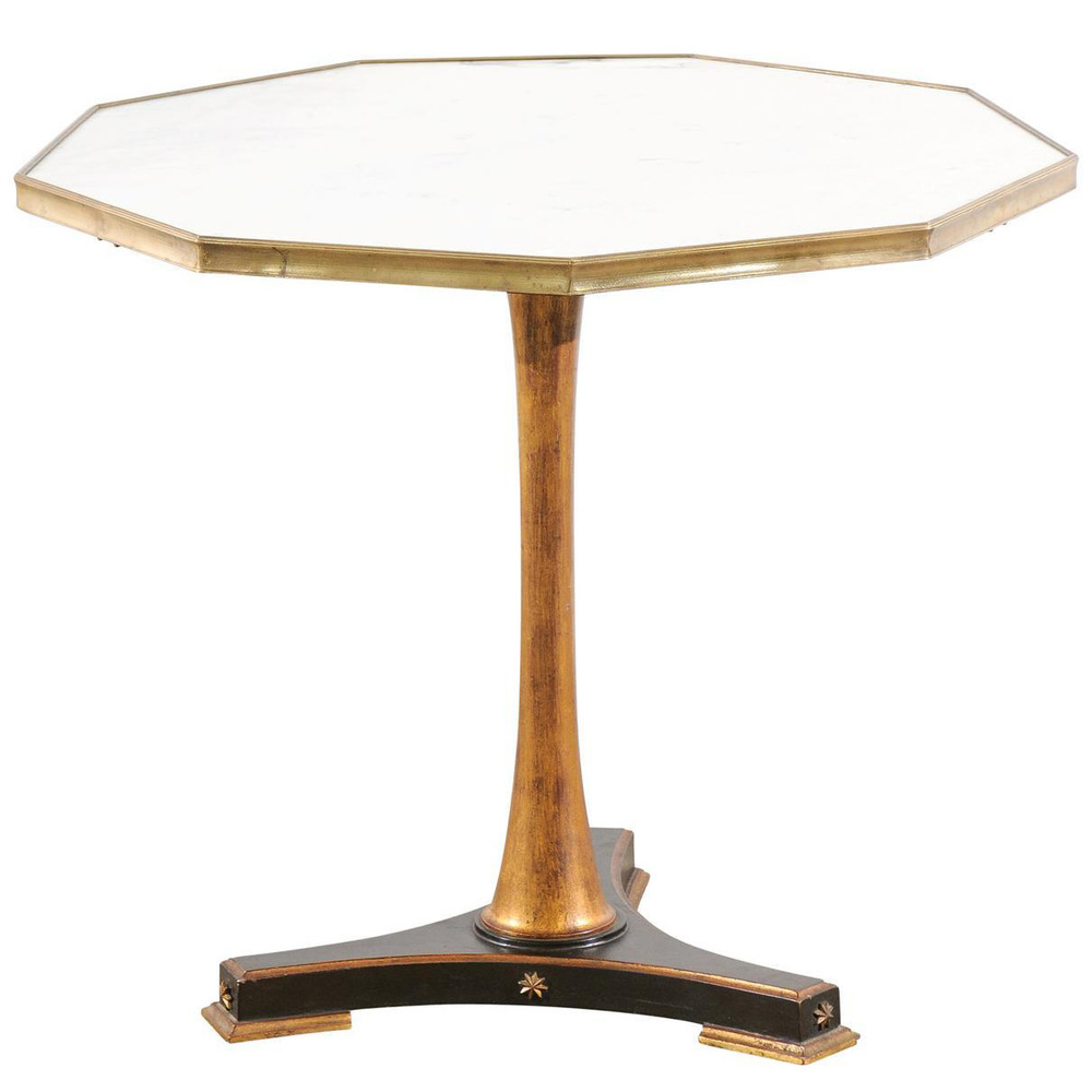 Marble-Top Pedestal Table