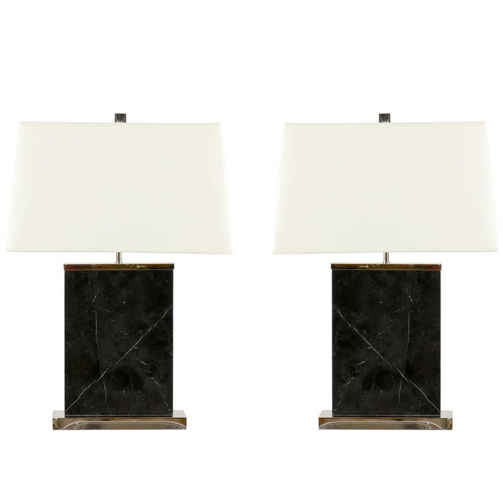 Pair of Chrome and Black Marble Lamps