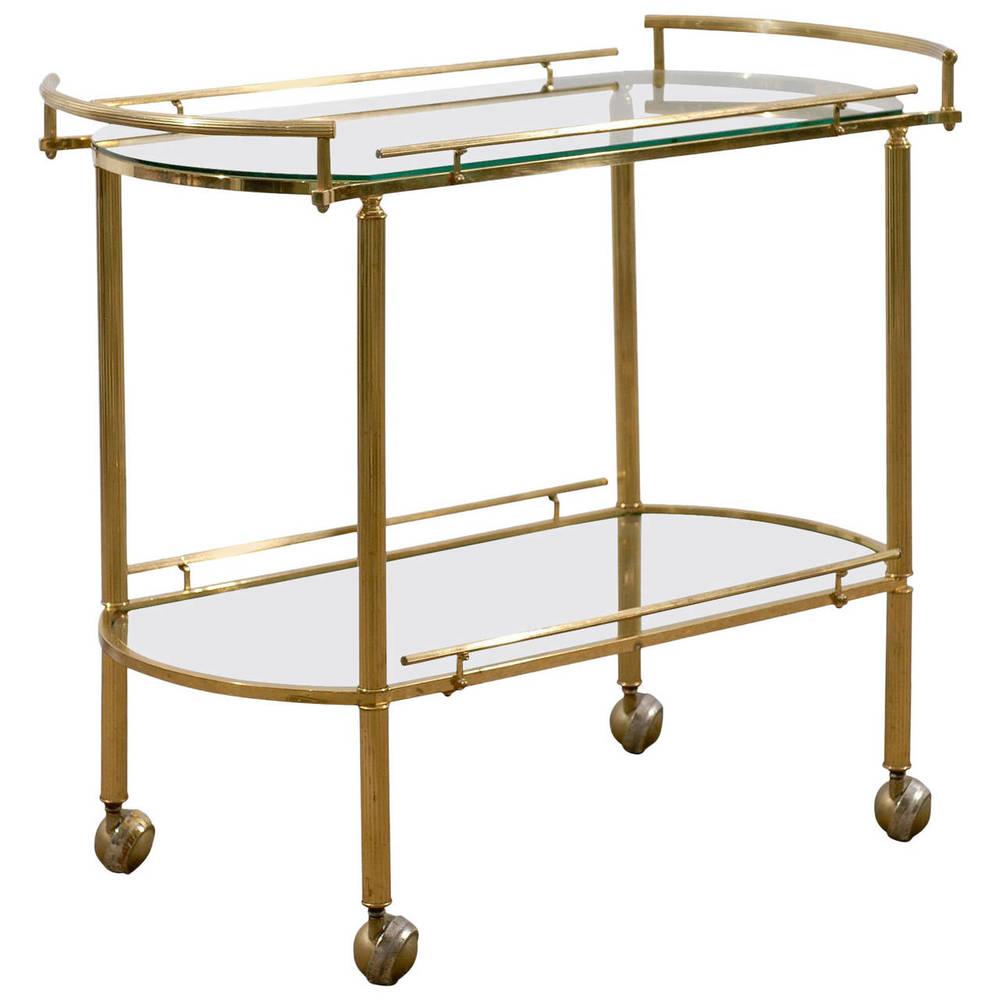 Brass and Glass Tea Cart or Bar