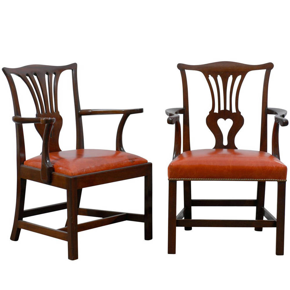 Working Pair of Chippendale Armchairs, Mahogany