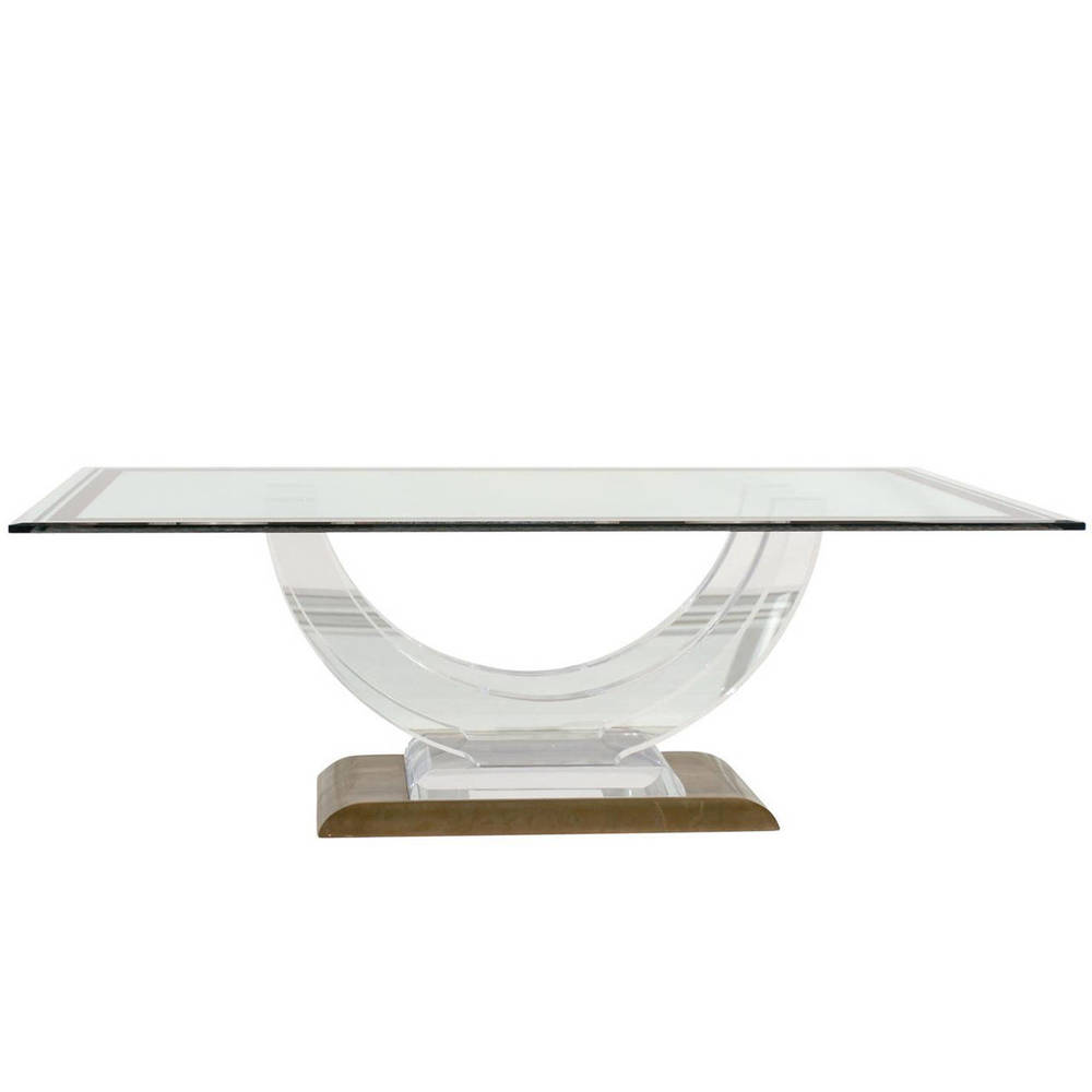 Vintage Lucite Glass-Top Dining Table
