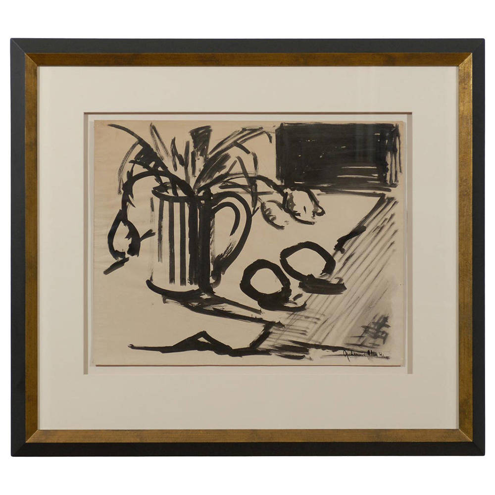 Gouache Still Life Painting, Signed and Dated