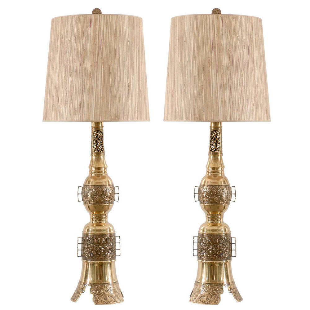 Pair of Asian Brass Lamps