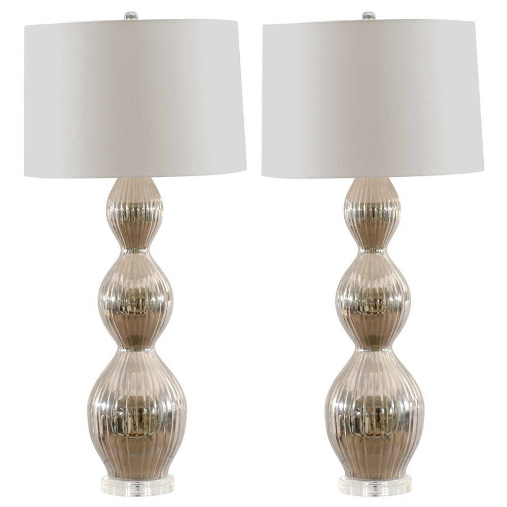 Pair of Mid-Century Lamps on Lucite Bases