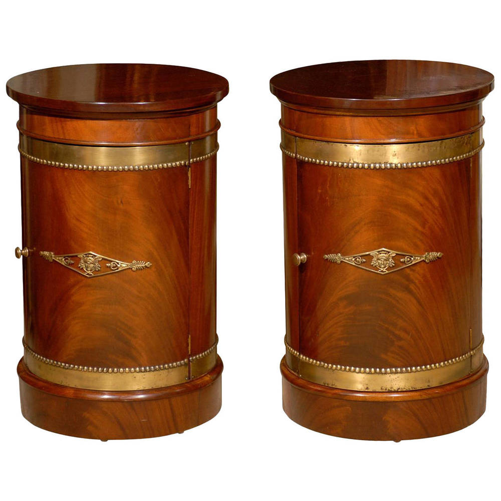 Pair of Drum Tables, Mahogany with Bronze Mounts