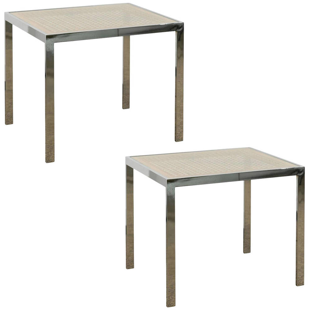 Pair of Caned Top and and Chrome Base Side Tables with Glass Tops