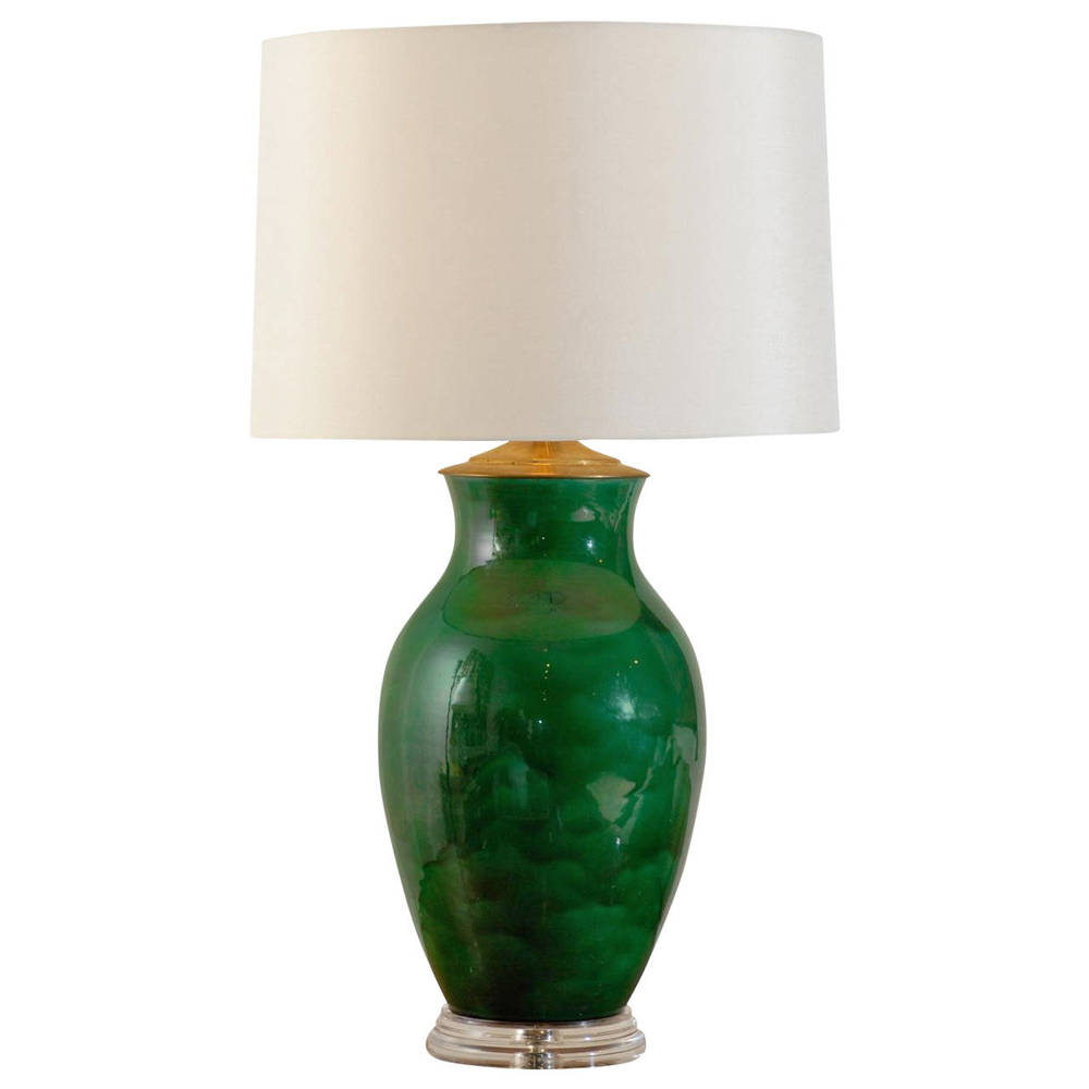 Green Glazed Lamp by Keramos on Lucite Base