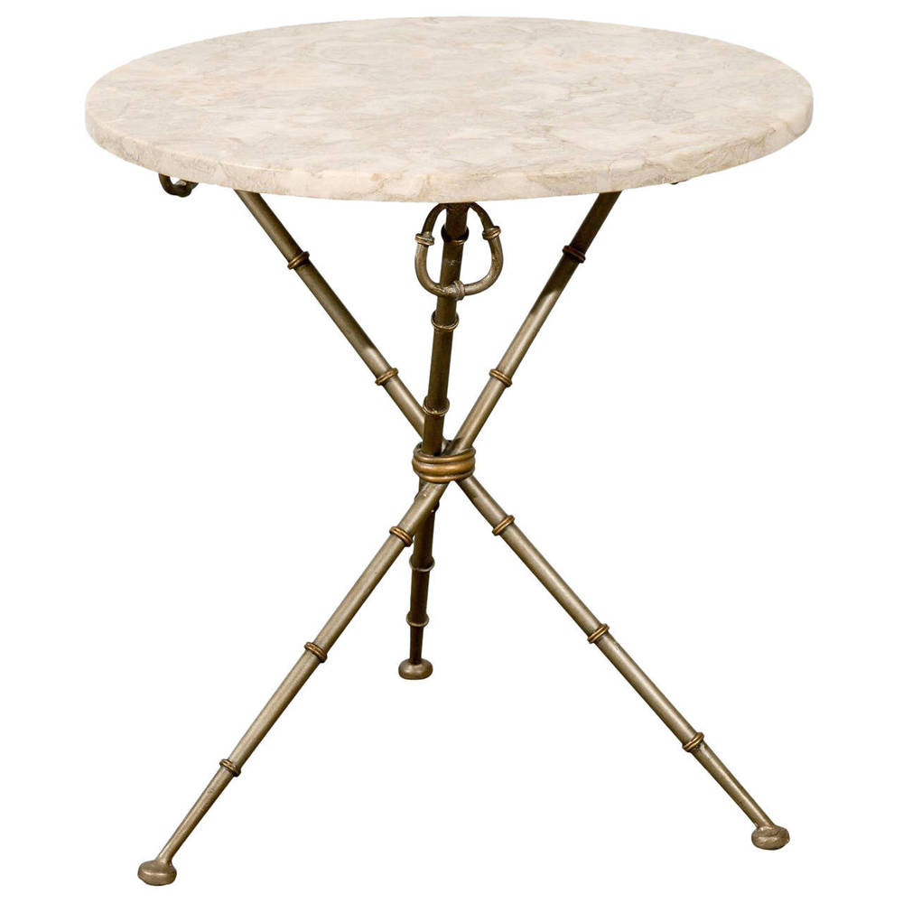 Marble Top Table on tripod Iron Base