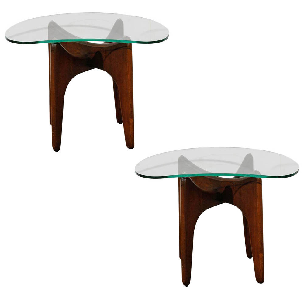 Pair of Mid-Century Glass Top Side Tables