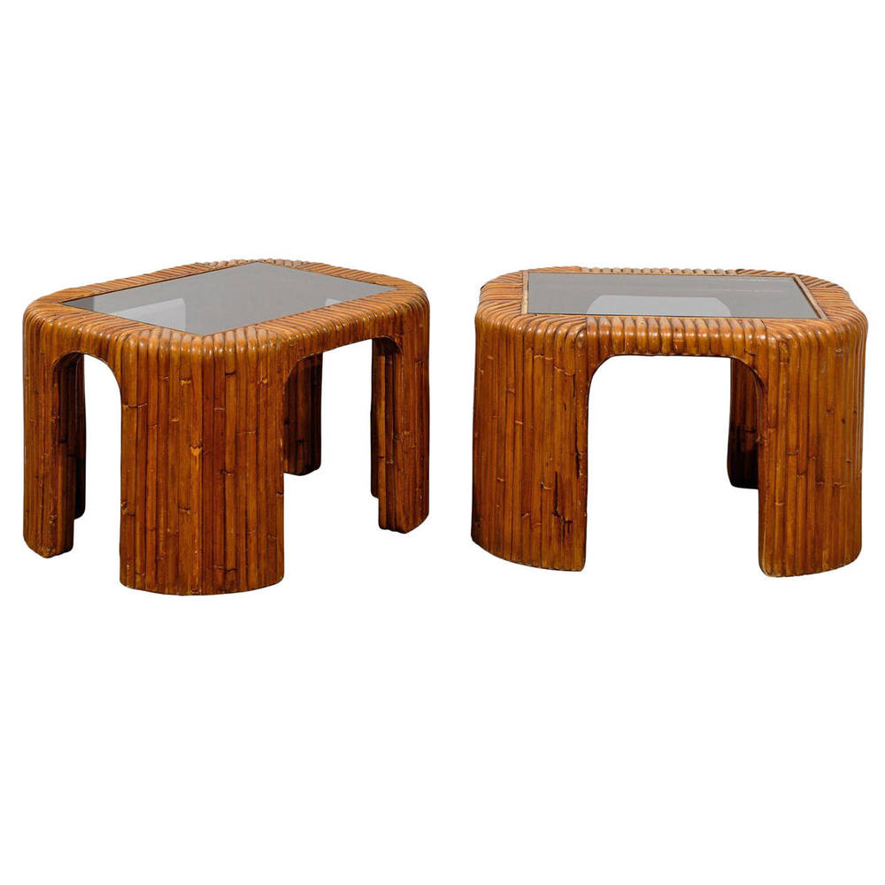Pair of Bamboo Side Tables with Inserted Smoked Glass Tops