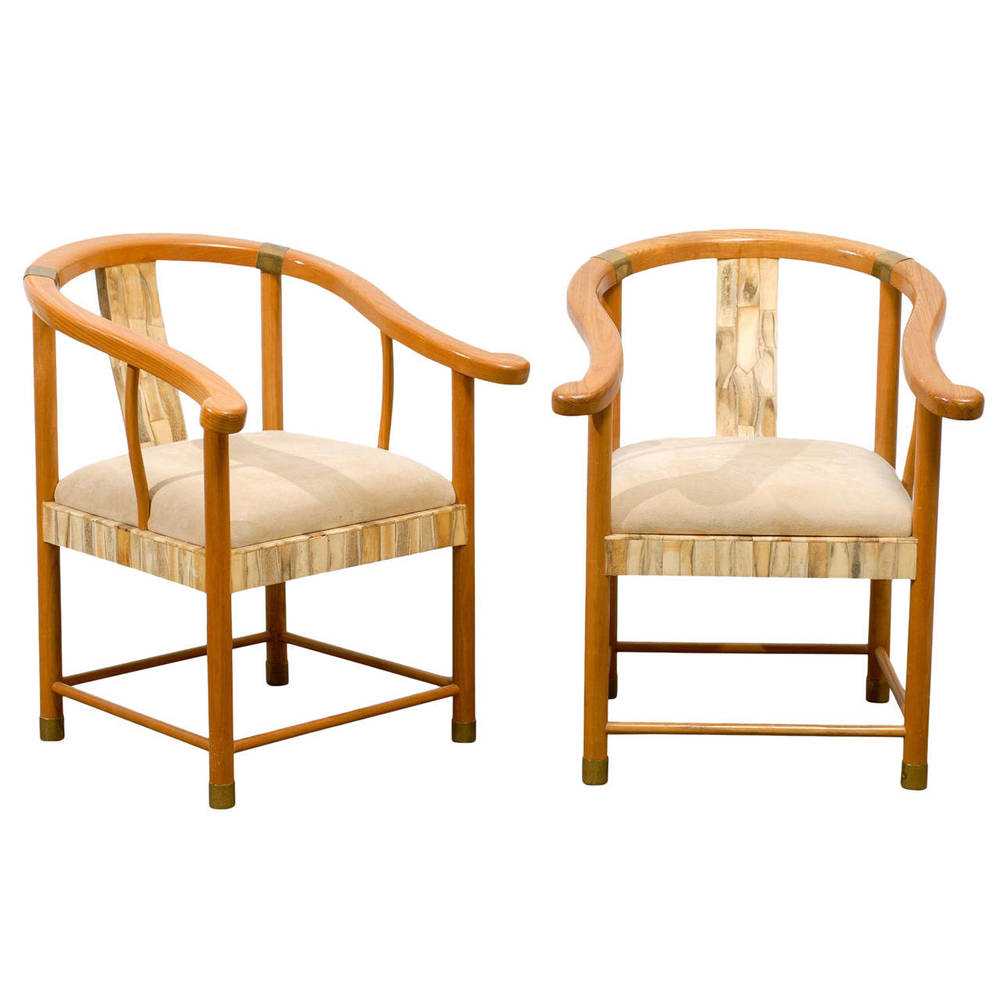 Pair of Asian Inspired Chairs with Bone and Brass Detail
