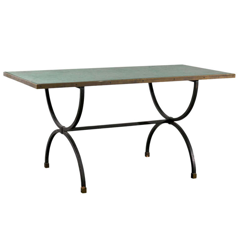 Iron Base Desk/Table with Faux Malachite Marble Top