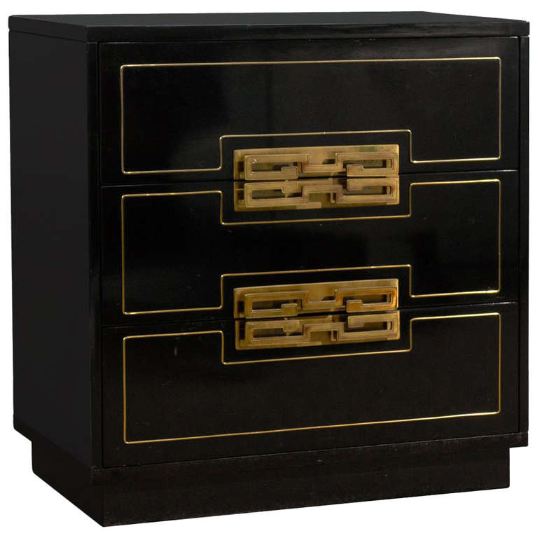 Black Lacquer Three Drawer Chest with Brass Pulls