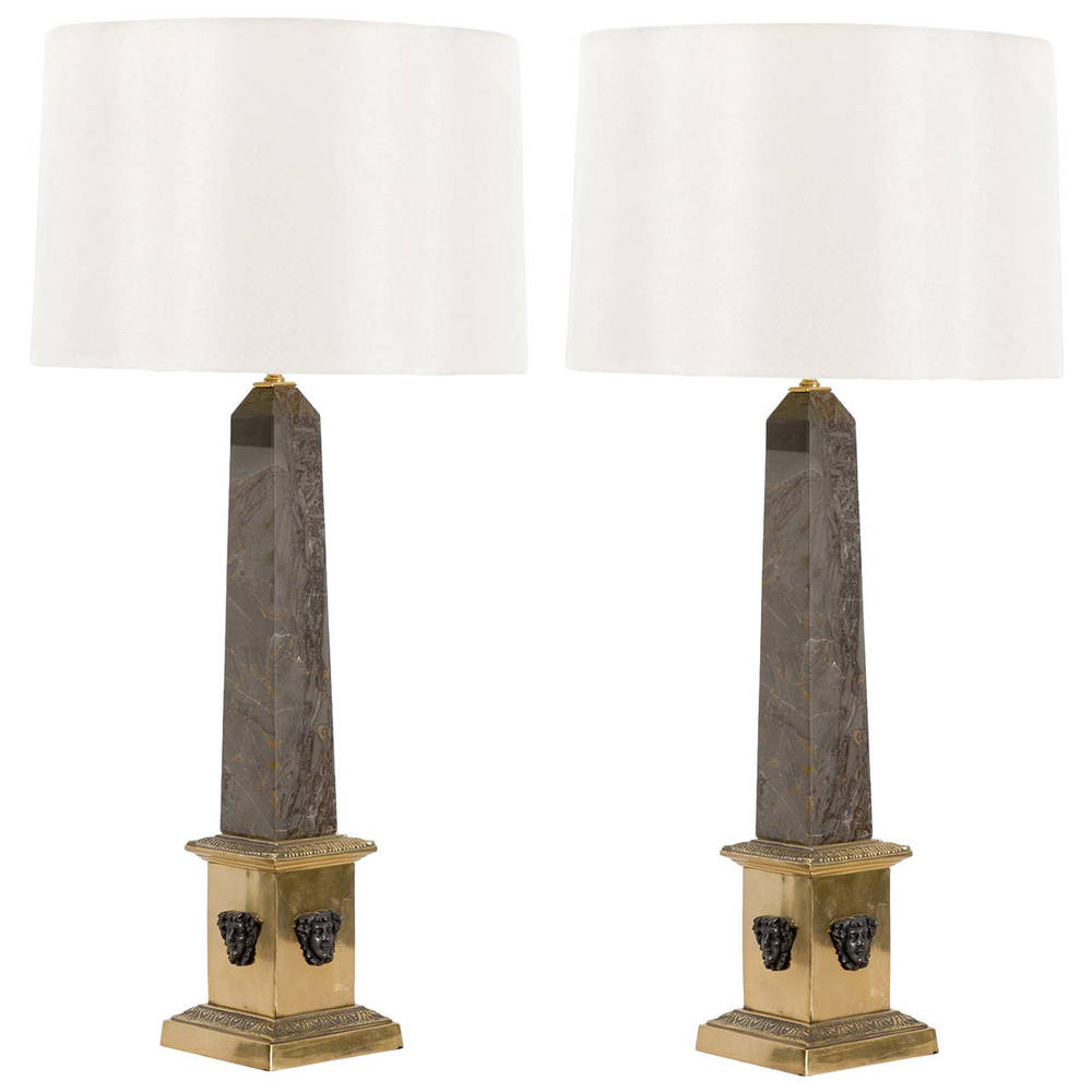 Pair of Marble and Brass Obelisk Lamps