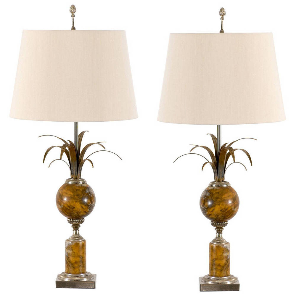 Pair of Maison Charles Marble and Silver Gilt Lamps