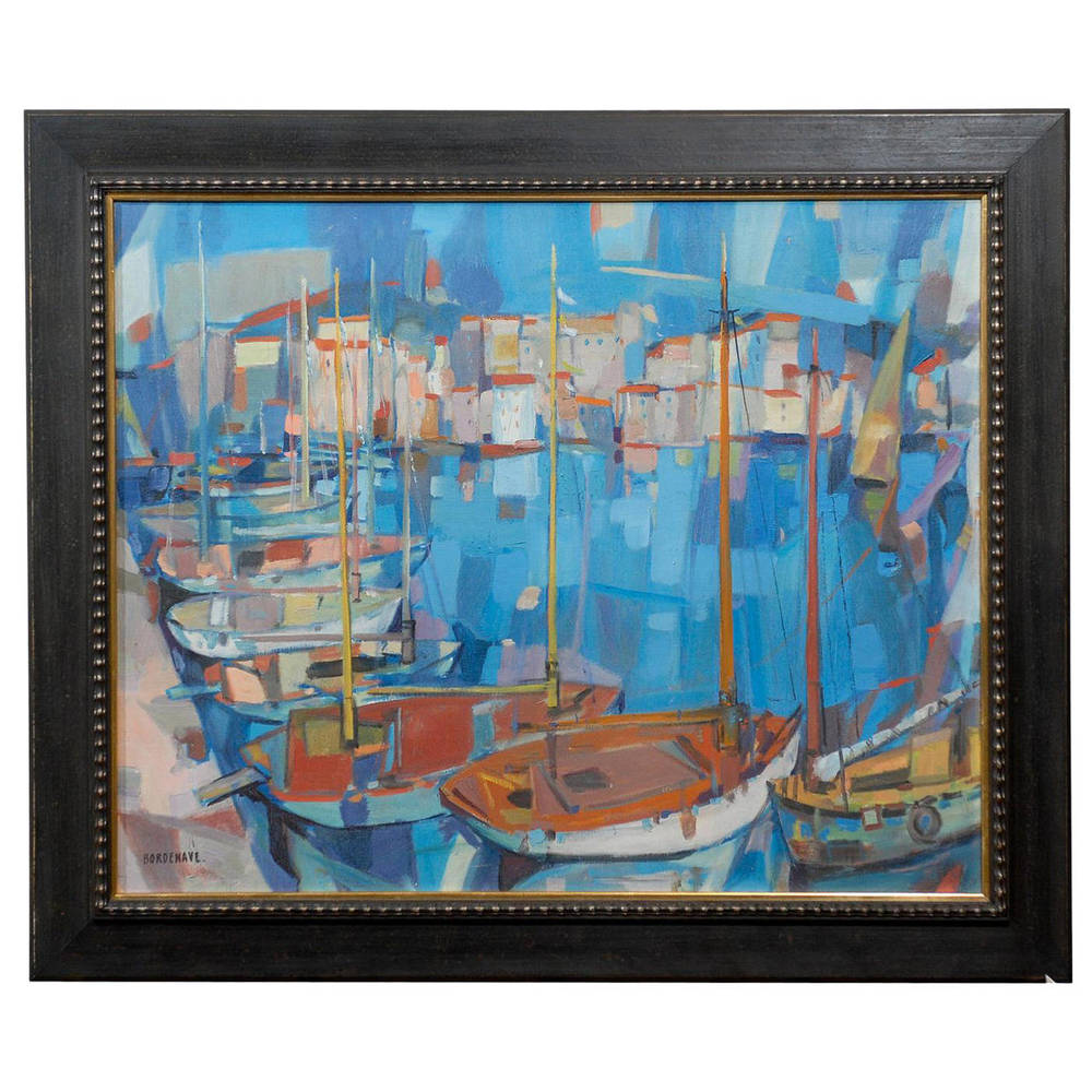 Oil on Canvas of Harbor Scene in Cannes