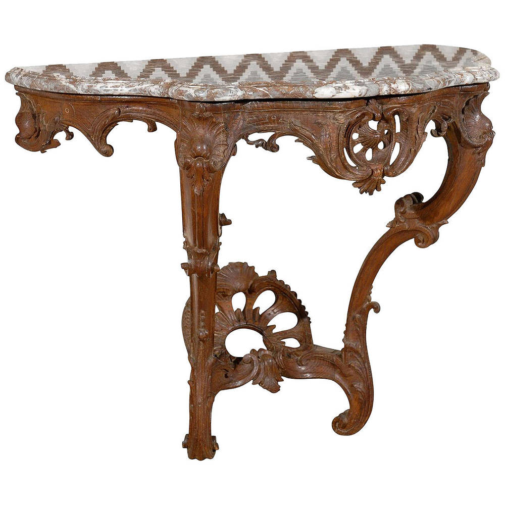 Louis XV 18th Century Console Table with Marble Top