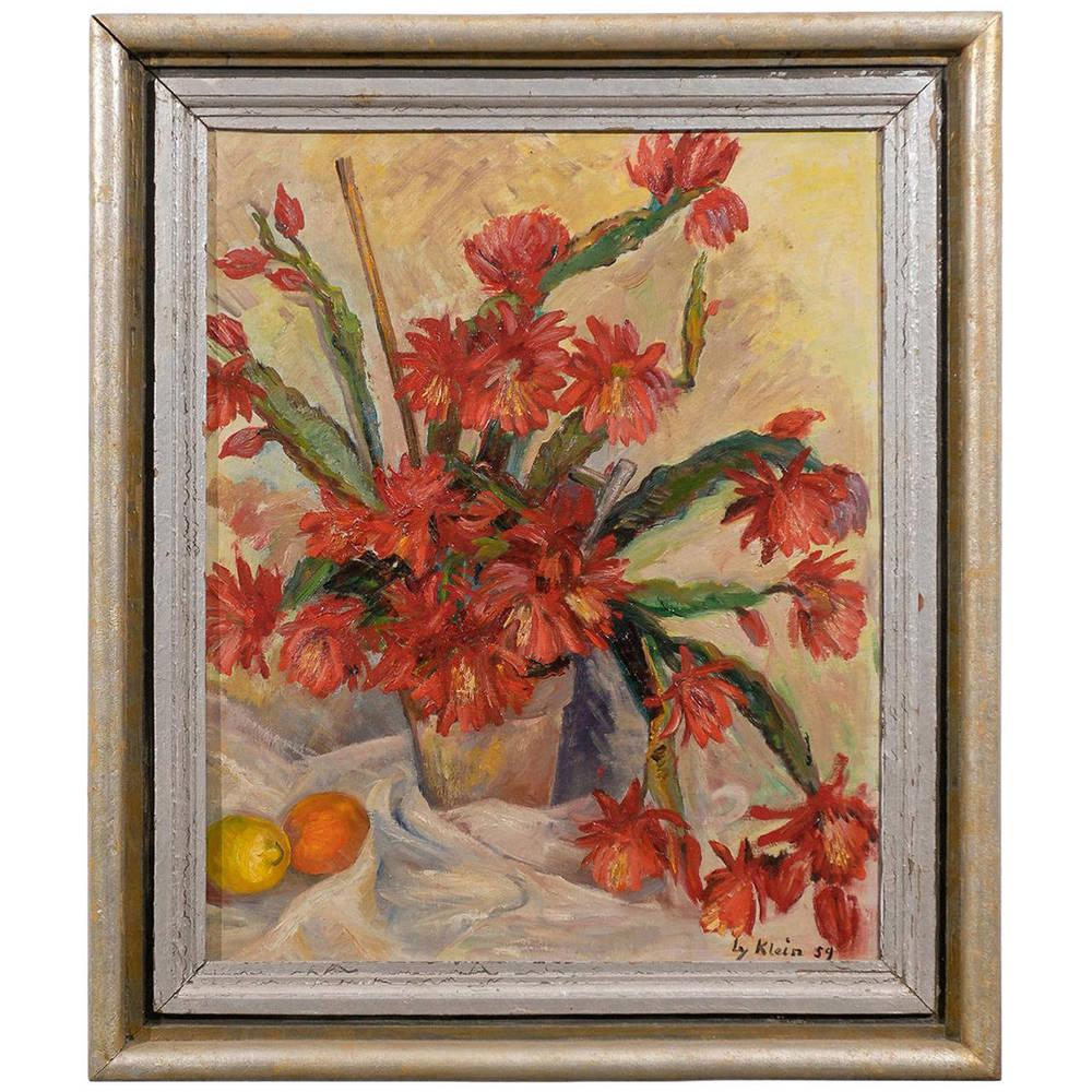 Framed Still Life Oil on Canvas of Orange Flowers, Signed