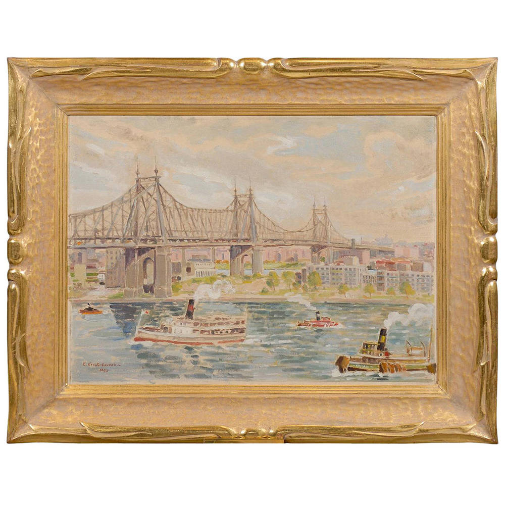 Framed Oil on Canvas of Queensboro Bridge, Signed and Dated