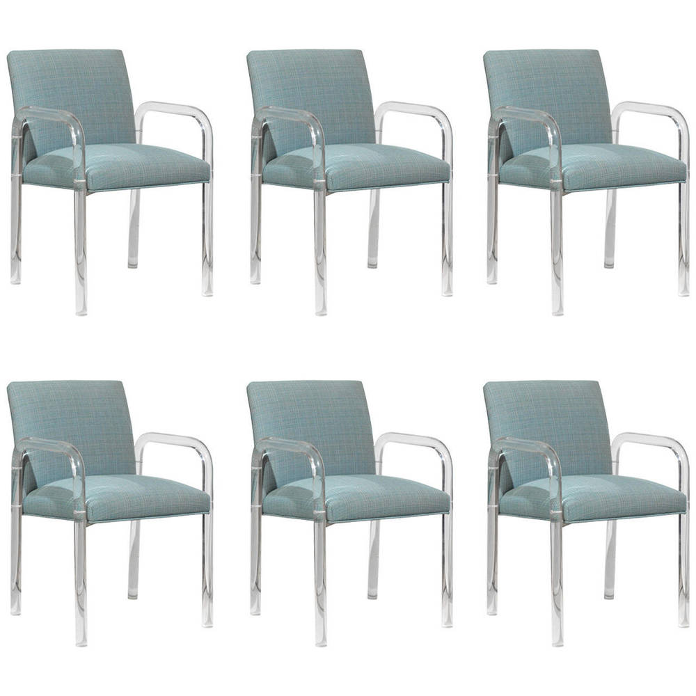 Set of Six Lucite Arm Chairs