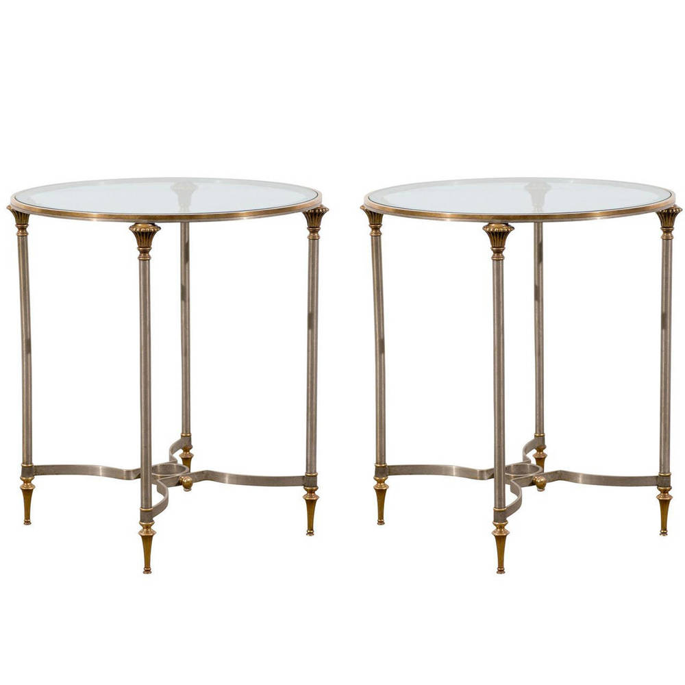 Pair of Mid-Century Polished Steel and Brass Side Tables