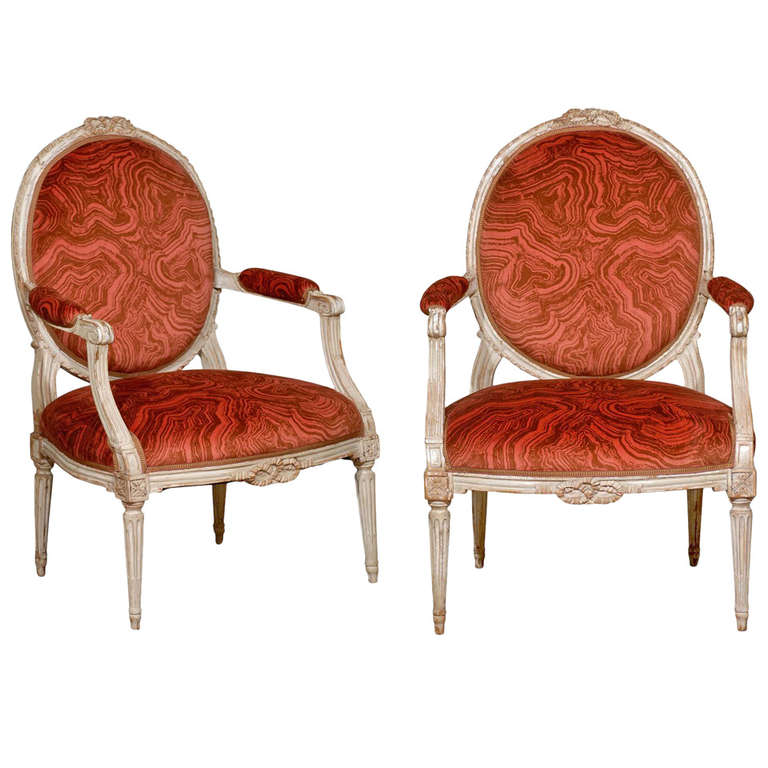 Pair of Oval Back Painted Arm Chairs