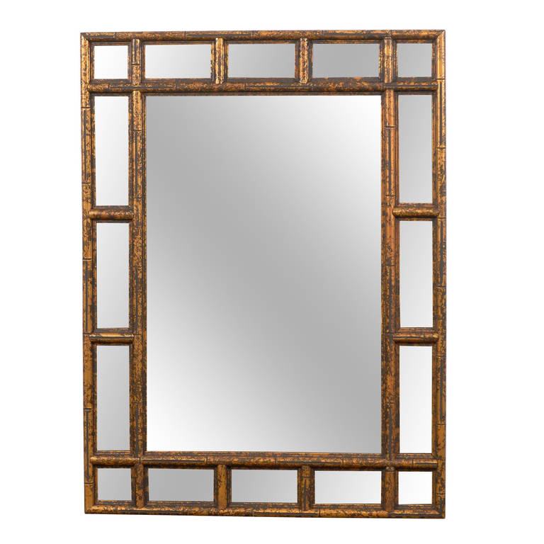 Gilded Faux Bamboo Wood Mirror